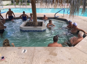 Post water volleyball soak with the team!