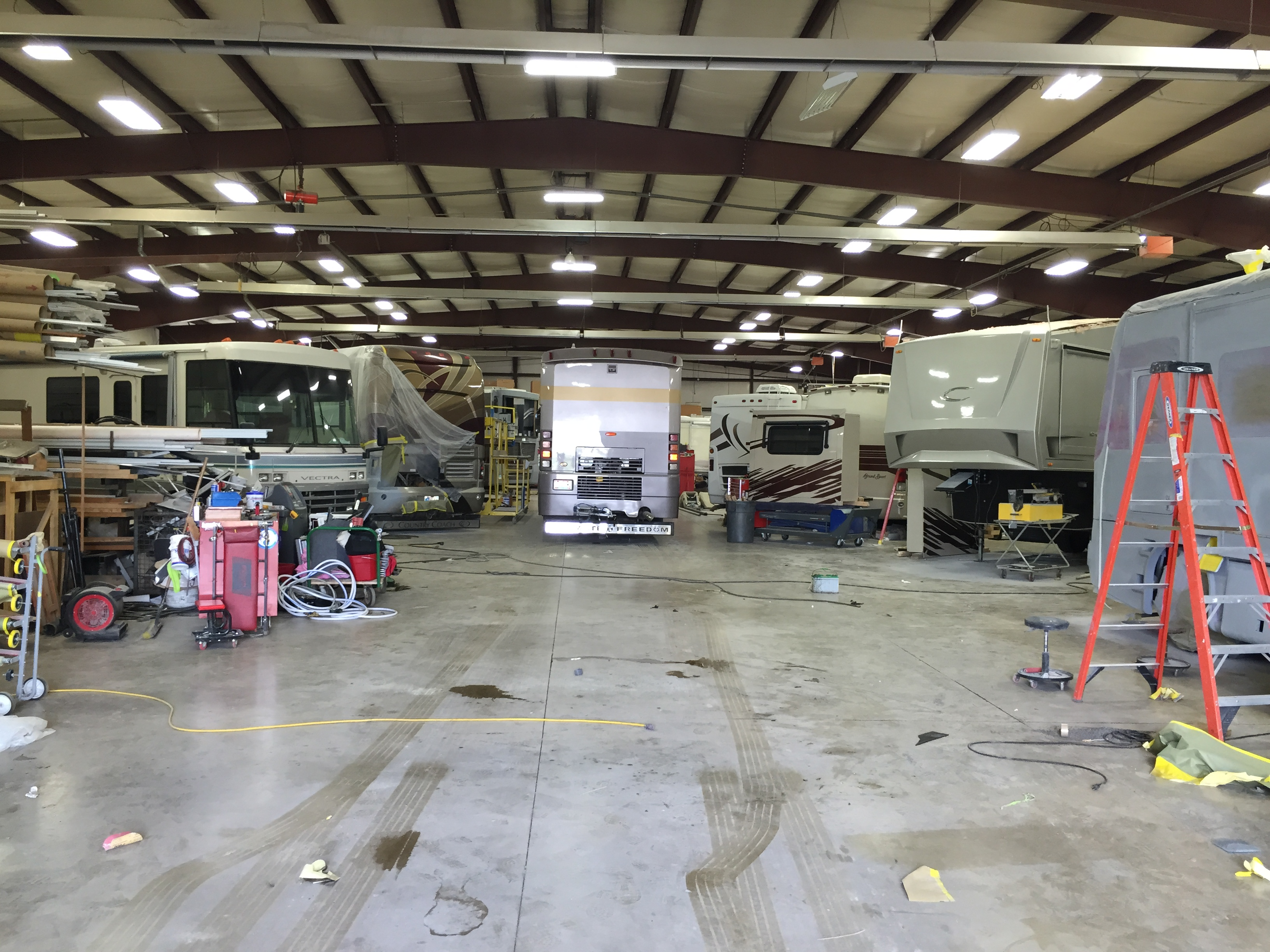 Rv water damage rolling recess for Rv workshop
